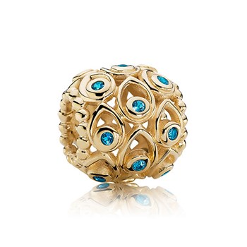 343429-PANDORA 14K Ocean Treasures with Blue Topaz Charm