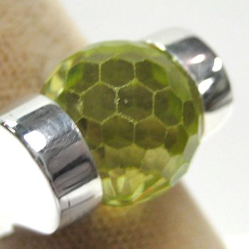 Faceted Peridot CZ Ball-171786