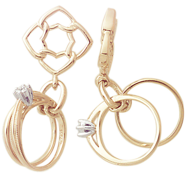 271257-Storywheels Diamond Rings Dangle 14K Gold Wheel ONLY 3 AVAILABLE!