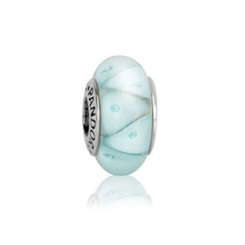 340163-PANDORA Blue Looking Glass Murano RETIRED