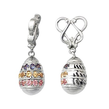 Storywheels Pastel Sapphires Easter Egg Dangle 14K White Gold Wheel-265997