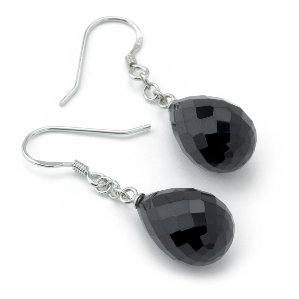 Black Agate Chain Earrings-645-813