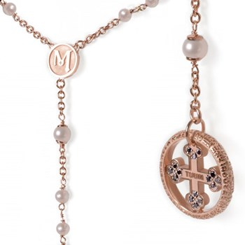 Our Father Pearl & Black Diamond Rose Gold Rosary