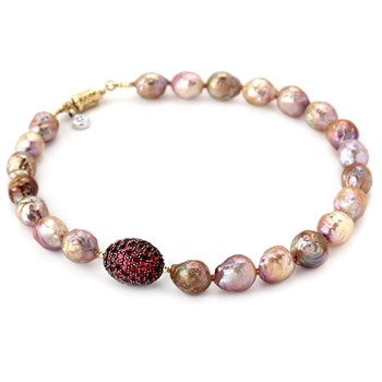 Fireball Pearl & Rhodolite Garnet Necklace-342158