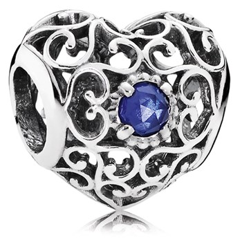802-3109-PANDORA September Signature Heart with Synthetic Sapphire Charm *OUT OF STOCK*