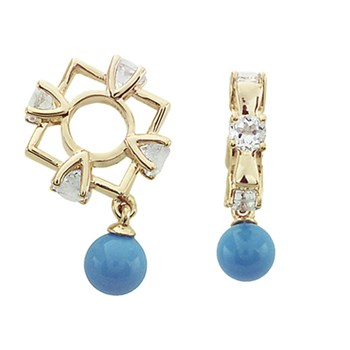 271097-Storywheels White Topaz & Turquoise Dangle 14K Gold Wheel RETIRED ONLY 2 LEFT!