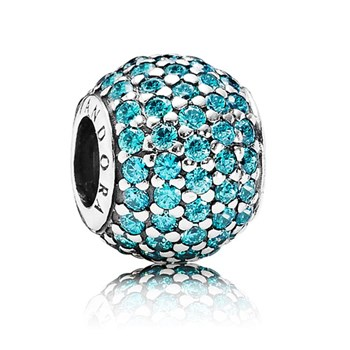 PANDORA Pavé Lights with Teal CZ Charm-347056