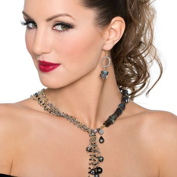 Black Pearl & Sapphire Necklace-235-483