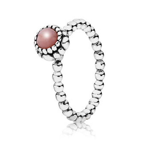 PANDORA Pink Opal October Birthday Bloom Stackable Ring