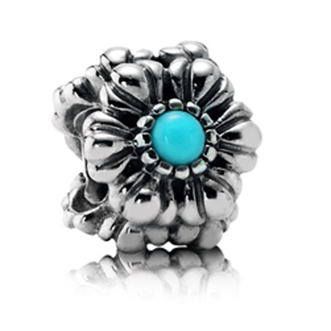 337219-PANDORA Birthday Bloom December with Turquoise Charm RETIRED