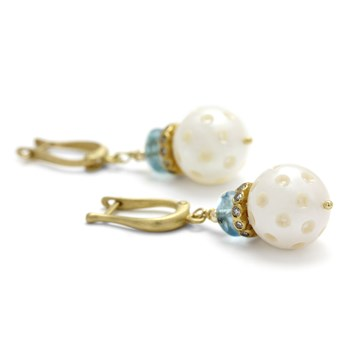 310-131- Aquamarine Diamond & Pearl Earrings