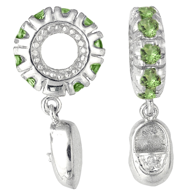 265126-Storywheels Peridot & Diamond Baby Shoe Dangle 14K White Gold Wheel ONLY 1 AVAILABLE!