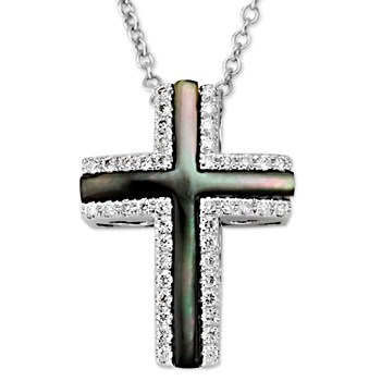 345010-Black Luna Cross Pendant