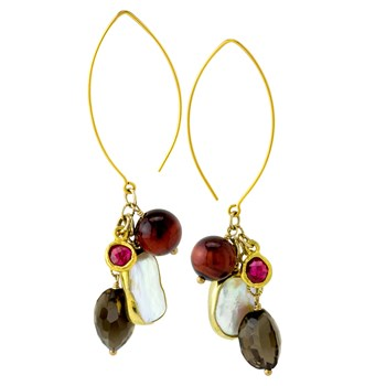 Smokey Quartz & Pearl Earrings 210-846