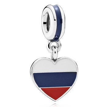 802-3019-PANDORA Russia Heart Flag with Enamel Dangle