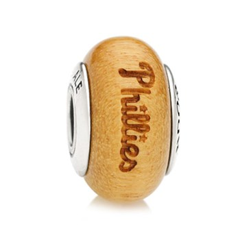 345565-PANDORA Philadelphia Phillies Baseball Wood Charm RETIRED ONLY 1 LEFT!