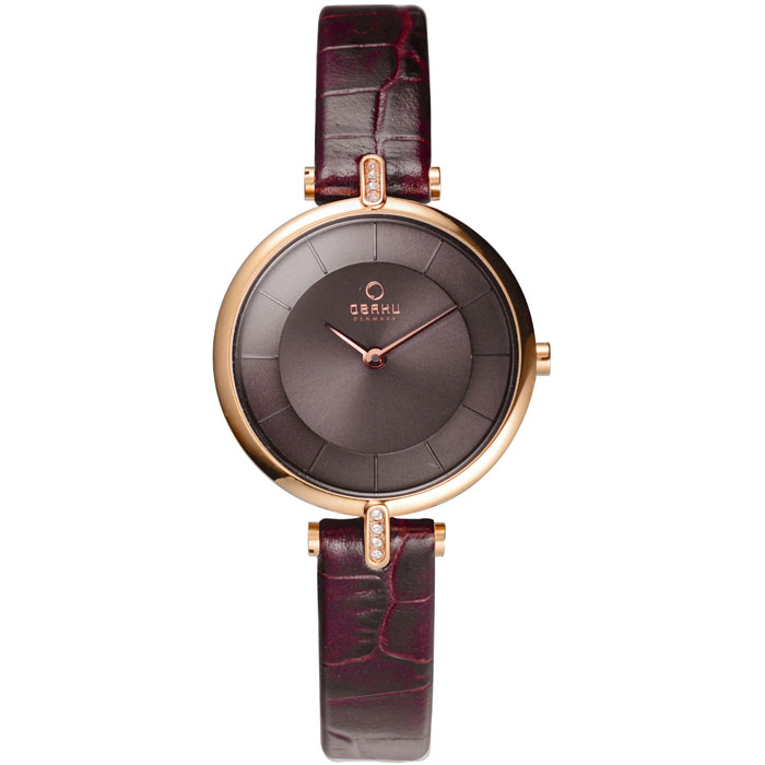 500-31-Obaku Women's Brown Crocodile Leather Watch