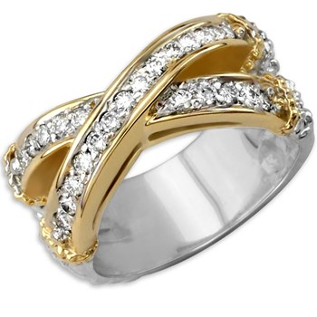 Criss-Cross Diamond Ring-130-191