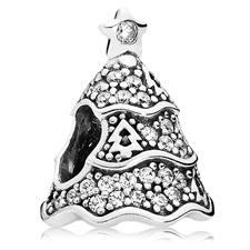 802-3130-PANDORA Twinkling Christmas Tree with Clear CZ Charm
