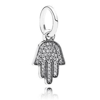 PANDORA Symbol of Protection Hamsa with Clear CZ Pendant-347076