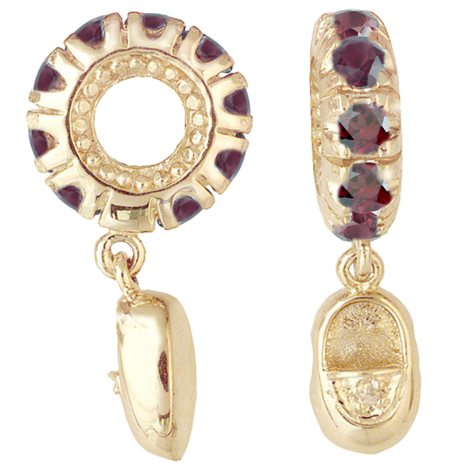 265539-Storywheels Rhodolite & Diamond Baby Shoe Dangle 14K Gold Wheel ONLY 1 AVAILABLE!