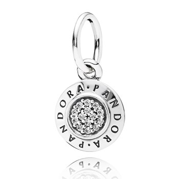PANDORA PANDORA Signature with Clear CZ Pendant-348125