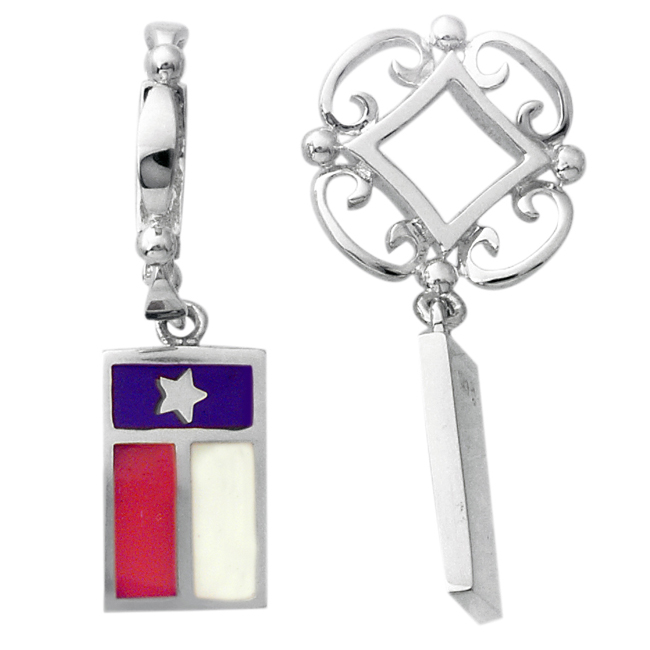 336818-Storywheels Texas Flag with Enamel Dangle Sterling Silver Wheel ONLY 1 AVAILABLE!