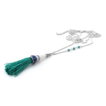 Tassel with Opal Inlay on SS Necklace-235-582