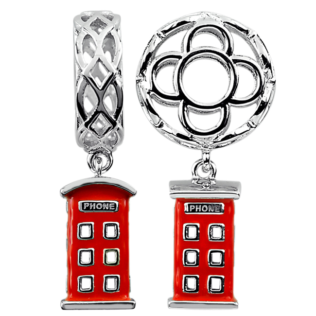 337607-Storywheels Red Enamel Phone Booth Dangle Sterling Silver Wheel ONLY 5 AVAILABLE!
