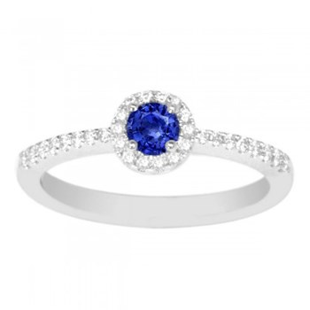 Blue Sapphire and Diamond Ring-347468