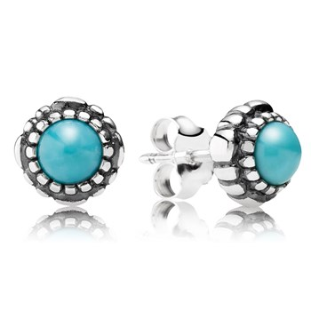 PANDORA Turquoise December Birthday Bloom Stud Earrings-344331
