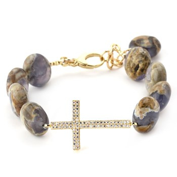 Lollies Chalcedony Cross Bracelet-345901