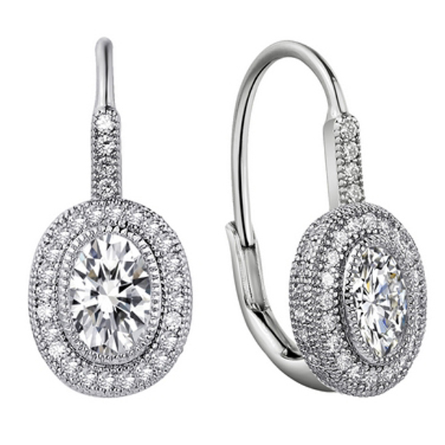 341030-Beautiful CZ Oval Leverback Earrings
