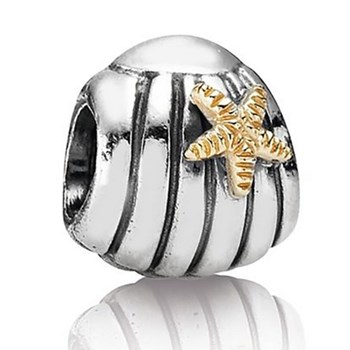 186629-PANDORA Seashell with 14K Starfish Charm