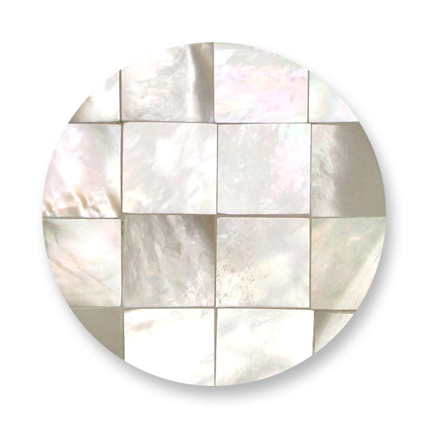 347296-Mi Moneda Gaudi White Mosaic Shell Disc - ONLY 1 LEFT