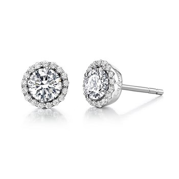 Simulated Diamond Birthstone Stud Earrings