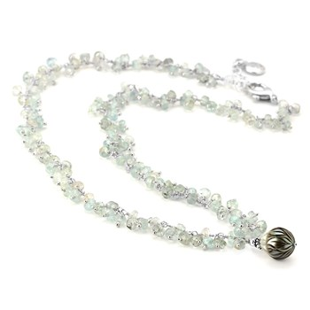 Black Pearl & Aquamarine Necklace-347625