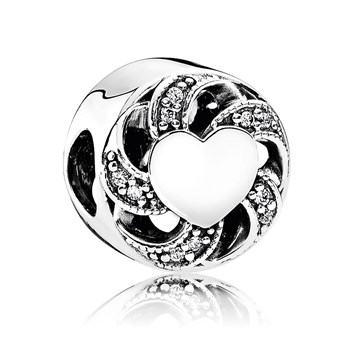 PANDORA Ribbon Heart with Clear CZ