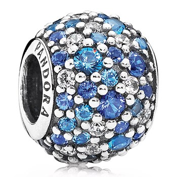 PANDORA Sky Mosaic Pavé Mixed Blue Crystals and Clear CZ Charm-802-3004