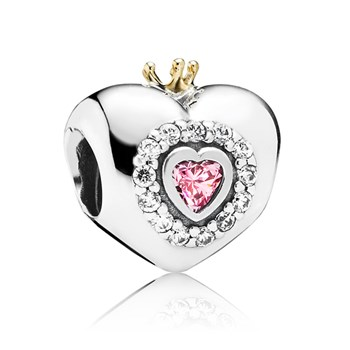 348007-PANDORA Princess Heart with Pink CZ and 14K Charm