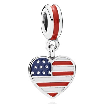 802-3018-PANDORA United States Heart Flag with Enamel Dangle