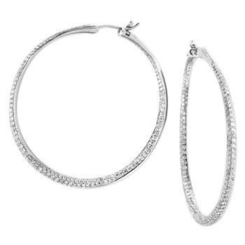 Diamond Inside Out Hoop Earrings-160-258