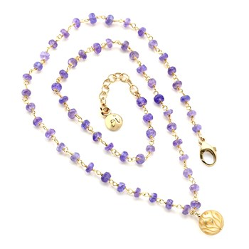 Tanzanite & Golden Pearl Necklace-349265