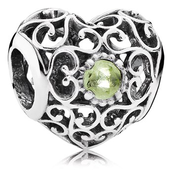 802-3105-PANDORA August Signature Heart with Peridot Charm