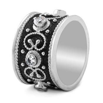sterling and black rhodium ring 630-73