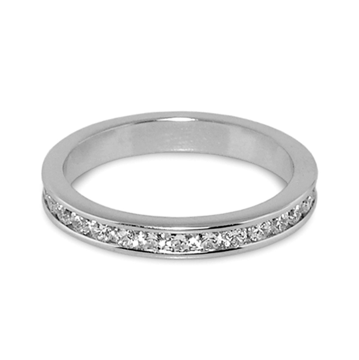 Rhodium 3mm 'Eternity' Ring