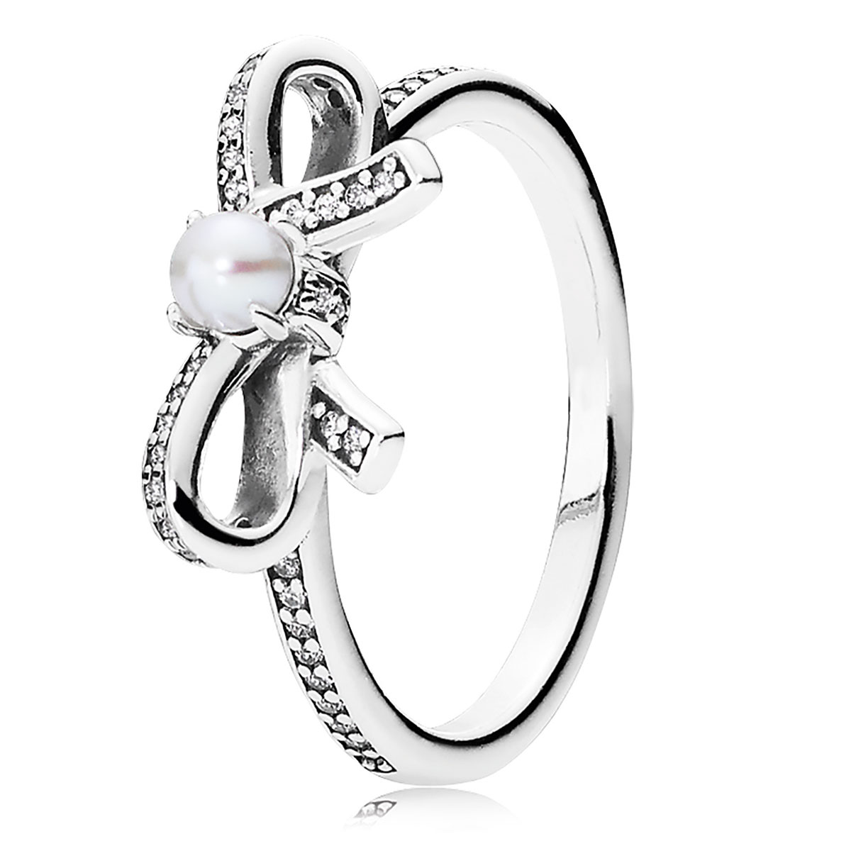 PANDORA Delicate Sentiments with White Pearl & Clear CZ Ring
