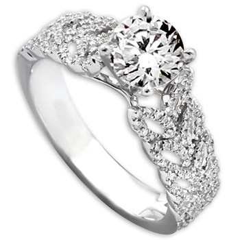 Diamond Ring with Leaf Design-341816