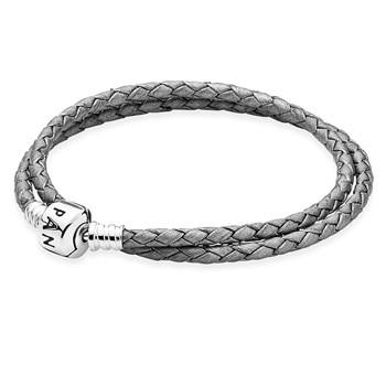 PANDORA Silver Grey Double Braided Leather Bracelet
