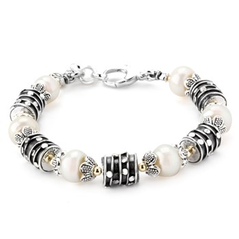 343732-White Pearl and Silver Bracelet